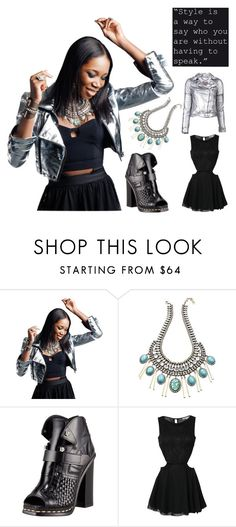 """""""Dancing The Night Away"""" by latoyacl ❤ liked on Polyvore featuring DANNIJO, KaufmanFranco, Proenza Schouler, Rare London, MuuBaa, cutout dresses, metallics, bib necklaces, skater dresses and peep-toe shoes"""