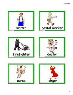 Community Helpers Bingo Cards