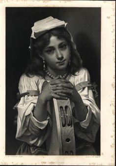 Beautiful Musician Tambourine Player Jewelry 1888 Antique Engraved Print | eBay