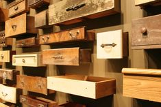 Drawers hung on wall
