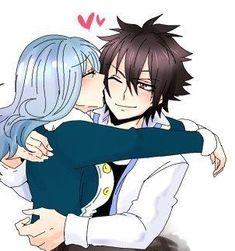 Gruvia   kiss on cheek