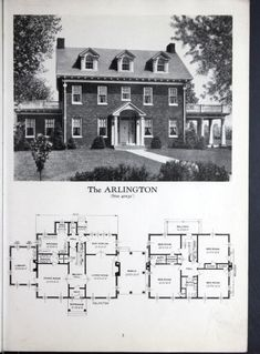 """1929 """"Homes of Brick and Stucco"""" Standard Homes Company. The Arlington. Great Colonial Revival style, four bedrooms baths. Colonial House Plans, House Floor Plans, Vintage House Plans, Vintage Houses, House Blueprints, Sims House, Cabin Plans, House Layouts, Kit Homes"""