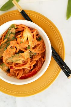 Creamy Vegetable Thai Red Coconut Curry with Sweet Potato Noodles (Paleo/Whole30)