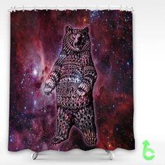 Cheap bear aztec art nebula Shower Curtain