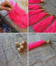 Designer DIY: Neon Tassle Necklace with Holst & Lee | Stripes & Sequins