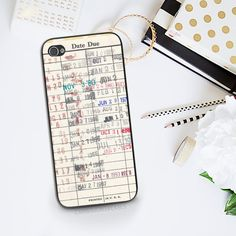 Library Card Phone Case iPhone 6 Vintage Library Due Date Card iPhone 5c Case Book Lover Reader Gift Idea - iPhone 4s LIbrary Book