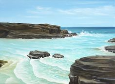 Seascape with ocean waves rolling into an inlet. Oil Paint Medium, Seascape Paintings, Oil Paintings, Ocean Waves, Wall Art, Landscape, Canvas, Water, Places
