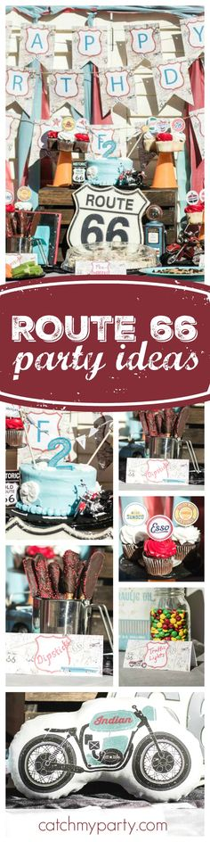 Grab your bike and head out to Route 66 with this fab Birthday Party!! The dessert table is so cool!! See more party ideas and share yours at CatchMyParty.com