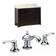 47.6-in. W Floor Mount Distressed Antique Walnut Vanity Set For 3H8-in. Drilling Beige Top White UM Sink, Brown