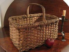 Antique 1800's New England Black Ash Woven Braided Rim Splint Basket AAFA | eBay