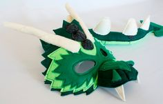 Bruce the Green Dragon Mask and Tail for Pretend Play **this item is made to order. It will take me 7 days to construct. Once finished it will
