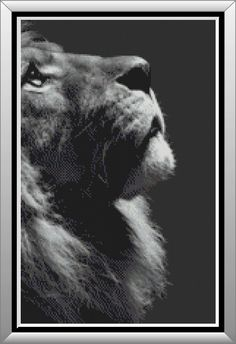 A detailed cross stitch pattern of the profile of a lion showing his strong, prideful countenance as he deeply contemplates the vastness of the universe. Artistically done in shades of blacks, grays and whites.