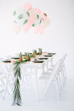 "A ""Palm Fronds + Bon Bons"" Dinner Party setting. #party #pineapple"