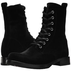 Frye Veronica Combat (Black Velvet) Women's Lace-up Boots (915 BRL) ❤ liked on Polyvore featuring shoes, boots, ankle boots, combat booties, black ankle boots, military combat boots, black bootie and black lace up boots