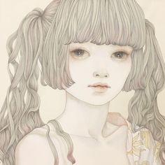 detail 麻紙に墨、岩絵具 natural mineral pigments, Japanese ink on hemp paper #illustration #art#japanesepainting#日本画#イラスト#アート#絵