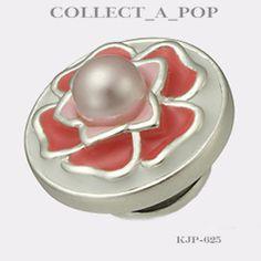 Authentic Kameleon Sterling Silver Peach Rose Pearl Jewelpop KJP625