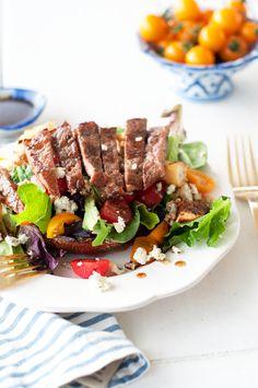 Grilled Balsamic Portobello Mushroom & Steak Salad