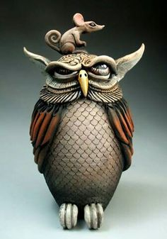 Mitchell Grafton Pottery | Owl & Mouse...he always make me smile with his work.