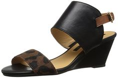 Kensie Womens Svora Wedge Sandal Leopard 75 M US ** To view further for this item, visit the image link.