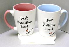 godfather mug godmother mug godparents mugs gift for baptism, communion gift SET of TWO mugs on Etsy, $23.00