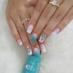 Image may contain: one or more people Cute Acrylic Nails, Cute Nails, Pretty Nails, Gelish Nails, Manicure And Pedicure, Bride Nails, Wedding Nails, Simple Nail Art Designs, Nail Designs