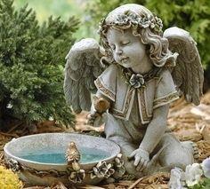 Sweet Angel Solar Bird Bath Garden Statue