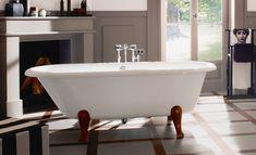 Homeplaza: Badewannen – Freistehende Badewanne im Vintage-Stil Vintage Stil, Clawfoot Bathtub, Bathroom, Products, Bathtub, White People, Stripes, Interview, Freestanding Bath