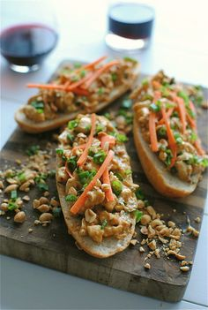 Open Faced Thai Peanut Chicken Sub Sandwhiches - - updated link 10-13-14 - - from @noblepig.com