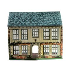 Vintage Tin Litho Dollhouse Bucks County PA Center Hall Colonial 1776 Locust Year - Playsteel ~ Pic 1 of 2 Tin House, Cozy House, Center Hall Colonial, Box Houses, Bucks County, Dollhouse Furniture, Cottage Chic, Building A House, House Styles
