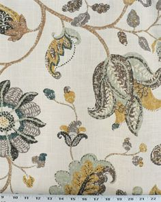 This beautiful fabric has a mottled floral and leaf print on a linen fabric background. This fabric has slightly stiff drape. Colors include brick red, light teal, dark brown and beige on a taupe/tan background. Pillow Fabric, Chair Fabric, Drapery Fabric, Linen Fabric, Curtains, Pillows, Lotus Design, Leaf Design, Spring Mix