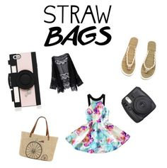 """Untitled #31"" by reagan-critchfield on Polyvore featuring Straw Studios, H&M, Kate Spade and strawbags"