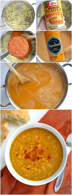 This super fast and easy Curried Red Lentil and Pumpkin Soup is soul warming and flavorful. Customize with your favorite toppings! @budgetbytes
