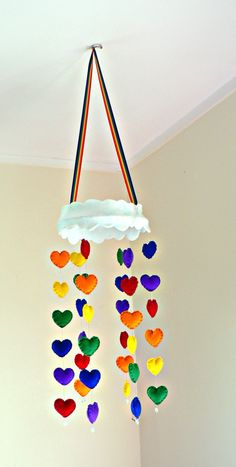 Felt rainbow heart mobile