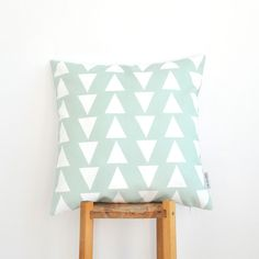 Mint Triangles Throw Pillow. Modern decorative pillow cover with mint and white triangles. This beautiful pillow will make a perfect gift, as well as a beautiful touch for your cozy home! It'll be great on a couch, a bed, a chair or in your nursery!