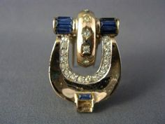 EARLY Vintage signed CORO Rose Gold Vermeil Art Deco Rhinestone DRESS FUR CLIP