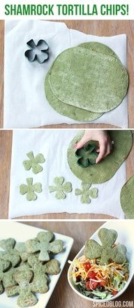 A healthy St. Patricks Day Snack: #Shamrock Tortilla Chips #food #recipe  Cool idea! Endless possibilities with different types of cookie cutters!