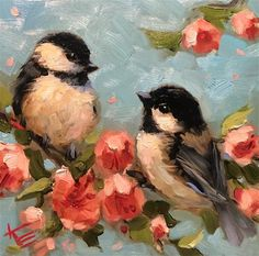 Excited to share this item from my shop Art chickadee bird birds painting paintings decor 6 art kitchen original artwork krista eaton animal nature mothers day Bird Painting Acrylic, Painting & Drawing, Watercolor Paintings, Hope Painting, Mother Painting, Love Birds Painting, Painting Flowers, Bird Drawings, Animal Paintings