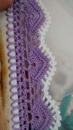 How to Crochet Wave Fan Edging Border Stitch Crochet Boarders, Crochet Blanket Edging, Crochet Lace Edging, Crochet Flowers, Crochet Stitches, Crochet Patterns, Crochet Home, Easy Crochet, Knit Crochet