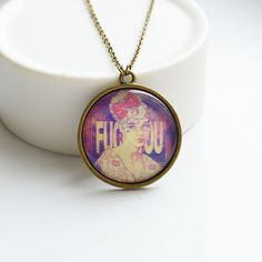MODERN ART Round pendant metal brass with the image by OhKsushop