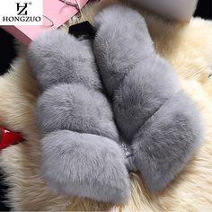 Hongzuo新しい2016冬の女性の厚い暖かいフェイクキツネの毛皮のベスト高品質のファッションoネック短い毛皮のコート生き抜くPC038