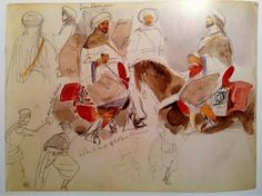 Eugene Delacroix I Moroccan watercolor sketches Travel Sketchbook, Art Sketchbook, Romanticism Artists, Drawing Sketches, Drawings, Sketching, Artist Journal, Watercolor Sketch, Horse Art