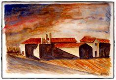 Autor: José Marques - Aguarela 33X43 - Título: Largo de Santa Catarina