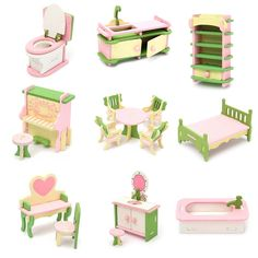 >> Click to Buy << Newest Wooden Delicate Dollhouse Furniture Toys Miniature For Kids Children Funny Pretend Play Toys Role Playing Toy With Box #Affiliate