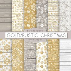 Gold/Rustic Christmas digital paper by burlapandlace on Creative Market
