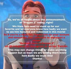 I really loved Hans till he turned evil and I'd really love for his character to be redeemed in Frozen 2 please repost this to your Disney board or your most popular board! Hans Frozen, Elsa And Hans, Prince Hans, Most Popular Boards, Everyone Knows, Disney Frozen, Stand Up, Love Him, All About Time