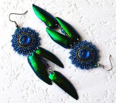 Emerald Green and blue earrings-Bead embroidery Earrings-long earrings