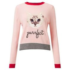 Cat Knitted Jumper (56 CAD) ❤ liked on Polyvore featuring tops, sweaters, pink sweater, cat print top, cat jumper, cat print sweater and jumpers sweaters