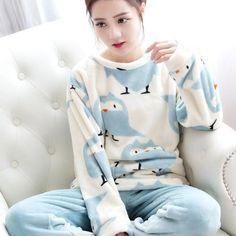 65731baa17 2018 Autumn Winter Women Pajamas Set Sleep Jacket Pant Sleepwear Warm  Nightgown Female Cartoon Bear Animal Pants Sleepwear