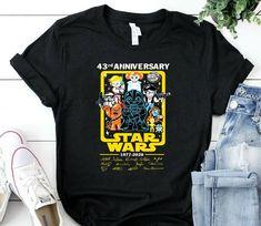 Star Wars Chibi 43 Rd Anniversary 43 Years Of T Shirt star wars t-shirt top shirt star wars t-shirt tee top shirt Mom And Daughter Matching, Star Wars Tshirt, Famous Stars, Photo Lighting, Cheap T Shirts, Chibi, Tee Shirts, Anniversary, Trending Outfits