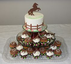 cakes for horse lovers | the horse silhouettes were done by printing horse outlines onto